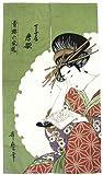 日本和風インテリア レイアウト 海外向けおみやげ モヘアロングのれん 浮世絵 風俗画 暖簾 喜多川 歌麿 唐歌