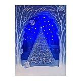 サンリオ クリスマスカード 洋風 ライト&メロディ ポップアップ 白木アーチ中央にツリー S7309