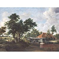Hobbema Watermill Great Red Roof Painting Large Print Poster Wall Art Decor Picture 水すばらしいですペインティングポスター壁デコ画像