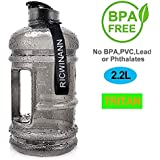 2.2L Plastic Water Bottle Large Capacity with Carrying Loop BPA Free Leakproof Jug Container Resin Fitness for Camping Training Bicycle Gym Outdoor Sports -Bottle Transparent (Black)