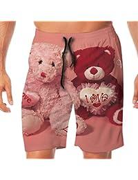 メンズ水着 ビーチショーツ ショートパンツ Happy Valentine's Day熊 スイムショーツ サーフトランクス 速乾 水陸両用 調節可能