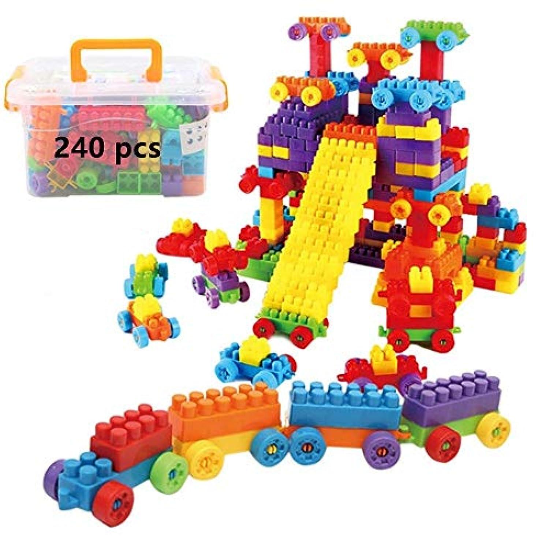 Fun2Us 組み立てブロック 240ピース 組み立てレンガ STEM 教育玩具セット 積み木 収納ボックス付き 子供&幼児用
