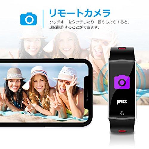 スマートブレスレット 心拍計 血圧計 活動量計 カラフルスクリーン 多機能 スマートウォッチ 着信通知/拒否 Line 睡眠検測 アラーム 遠隔カメラー IP68防水防塵 IPhone/Android 対応