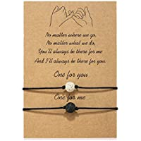 MANVEN Pinky Pomise Distance Matching Bracelets for Best Friends Couple Family Women Mens Teen Girls