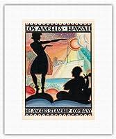 ハワイ、メニューカバー - ロサンゼルス汽船会社カリフォルニア州 c.1927 - キャンバスアート - 28cm x 36cm キャンバスアート(ロール)