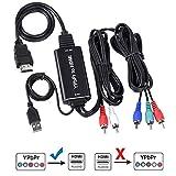 コンポーネント to HDMI コンバーター ケーブル 変換器 1080P対応 5RCA RGB YPbPr to HDMI コンバータ ケーブル HDCPオーディオ ビデオ 変換ケーブル HDTV V1.3 V1.4 HDCP 変換アダプタ 変換ケーブル HDTV、DVD、PSP、Xbox 360 Wii 対応