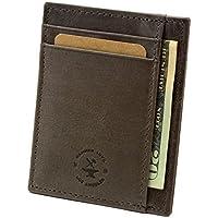 (Gray) - Hammer Anvil RFID Blocking Genuine Leather Front Pocket Wallet Card Case Grey