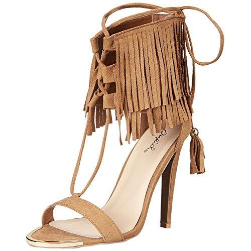 Qupid Women's Interest 123X Dress Sandal Camel 6 M US [並行輸入品]