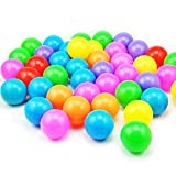 Twinkle Store カラーボール おもちゃボール 7色50個 直径5.5cm やわらかポリエチレン製 収納ネットセット(プール/ボールハウス用) (50個)