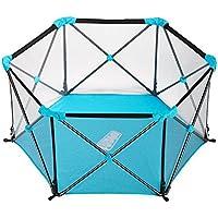 HUO ポータブルベビープレイペン折りたたみ式の子供の安全ガードレール屋内と屋外のペットフェンス 省スペース (色 : 青)
