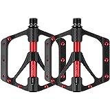 ペダル 自転車ペダル 超軽量 チタン合金製 ベアリング3個搭載 アルミニウム合金 ロードバイク フラットペダル MTBとBMX向け 2個セット