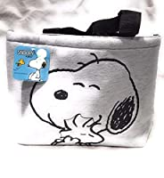 Peanuts スヌーピーとウッドストック ブラックとグレーの裏地 ファブリックランチバッグ