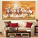 Big Size Hd Print Artistic Animals Seven Running White Horse Oil Painting On Canvas Modern Wall Painting for Living Room Cuadros 65 * 130Cm