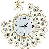 ルームオフィスのための壁時計の金属のラインストーンの家の装飾の孔雀の時計 (ゴールド)