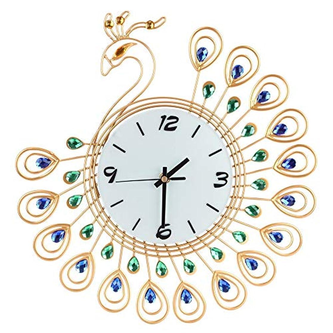動詞合理的ゴルフルームオフィスのための壁時計の金属のラインストーンの家の装飾の孔雀の時計 (ゴールド)