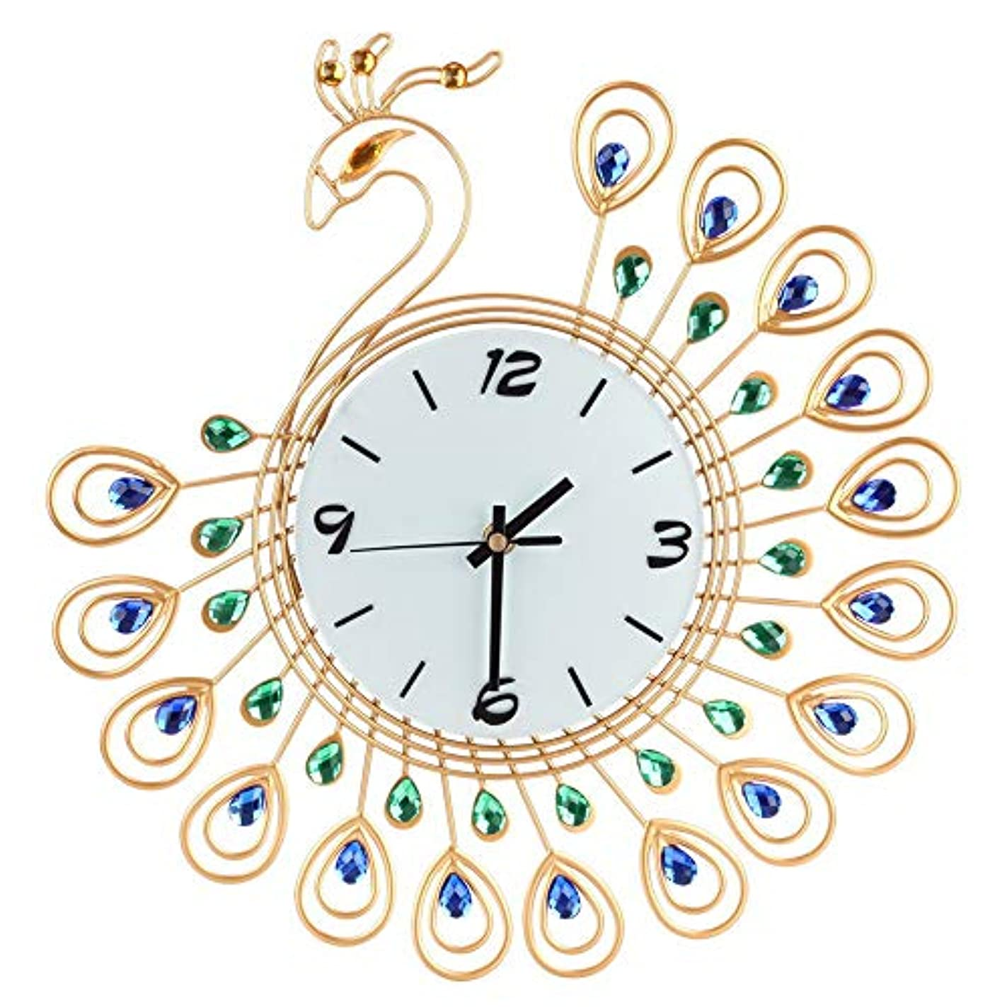 苦しみモジュール差別的ルームオフィスのための壁時計の金属のラインストーンの家の装飾の孔雀の時計 (ゴールド)