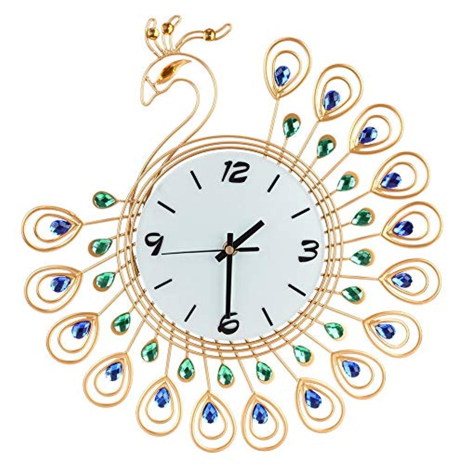 オン背の高い一般化するルームオフィスのための壁時計の金属のラインストーンの家の装飾の孔雀の時計 (ゴールド)