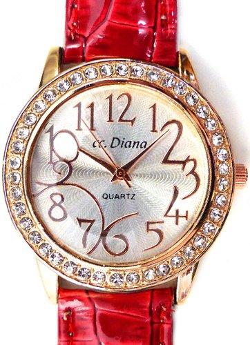 大人可愛いレディース腕時計 ラウンドフェイス クロコ型押し レッド 赤色 ベルトウォッチ 白 [tvs305-lady]