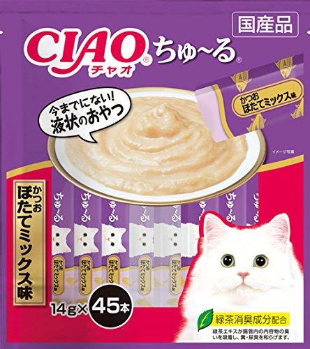チャオ (CIAO) 猫用おやつ ちゅ~る かつお ほたてミックス味 14g×45本入