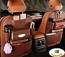 MOEEZE シートバックポケット 車用収納ポケット カー後部座席収納 バッグ 車用キックガード 大容量 多機能 取付簡単 レザー製 収納ボックス 傘/ボトル/雑誌/カー用品収納シート 座席保護カバー