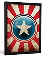 JPロンドン額入りアベンジャーズビンテージスターストライプスキャプテンアメリカギャラリーラップヘビー級キャンバスアートの壁の装飾、26.375インチHighx20.375インチWidex1.25インチ厚