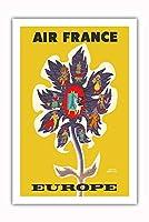 ヨーロッパ - 花 - フランス、ドイツ、スイス、ローマ、スコットランド - ビンテージな航空会社のポスター によって作成された エルベ・モルバン c.1956 - プレミアム290gsmジークレーアートプリント - 61cm x 91cm