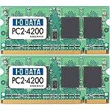 I-O DATA PC2-4200(DDR2-533)200ピンS.O.DIMM 1GX2 SDX533-1GX2