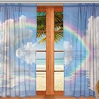 マキク(MAKIKU) ミラーレースカーテン 遮光 断熱 遮熱 レースカーテン 出窓 ドアカーテン レインボー 虹 海 青空 ブルー おしゃれ シェードカーテン UVカット 薄い 目隠し 幅140cm×丈200cm 2枚組