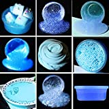 Loopy スライム slime キット 九点セット 韓国 水晶粘土 ストレス解消  おもちゃ いい香り フワフワ ( Color : 青 )