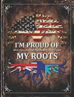 Im Proud of My Roots: Vintage Montserrat and American Flag Personalized Gift for Coworker Friend  Lightly Lined Pages Daily Journal Diary Notepad