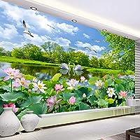 Bzbhart テレビの背景装飾画、壁用ステッカーカスタム任意のサイズの3D写真の壁紙の壁布ロマンチックな白鳥の湖ロータス池ロータス風景大壁画のリビングルームの装飾-250cmx175cm