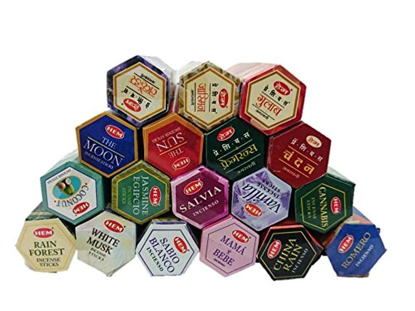 抽象先に規範インドのお香HEM ロングスティックお香 六角香 ヘキサパック お得18点セット アジアン雑貨 チャンダンお香