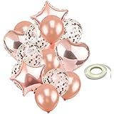 Homyl バルーンセット 風船 紙吹雪バルーン スター 星型 ハート リボン 結婚式装飾 パーティー おもちゃ 2色選べ - ローズゴールド