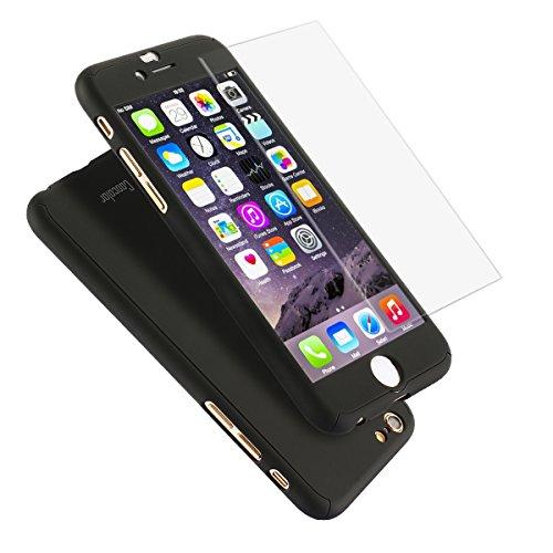 iPhone6/6sケース 全面保護 強化ガラスフィルム 3...