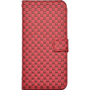 PLATA iPhone 6 Plus ケース 手帳型 市松 模様 チェック ブロック スタンド ケース ポーチ 格子柄 手帳カバー iphone 6プラス 6sプラス 【 レッド あか 赤 red 】 IP6P-6009RD