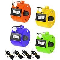 数取器 MEZOOM 4個セット カウンター カウント 手持型 4桁 数取り器 シンワ測定 入場者 交通量 野鳥の会 計数 カラフル 小型 手掌用
