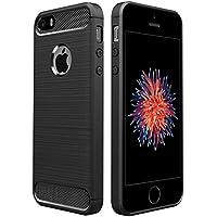 iPhone SE ケース 対応 Simpeak ラギッド Apple iPhone SE 5 5s 炭素繊維カバー TPU 保護バンパー 弾力性付き (ブラック)