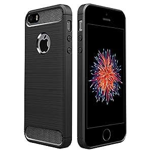 iPhone SE ケース, Simpeak ラギッド Apple iPhone SE 5 5s 炭素繊維カバー TPU 保護バンパー 弾力性付き (ブラック)