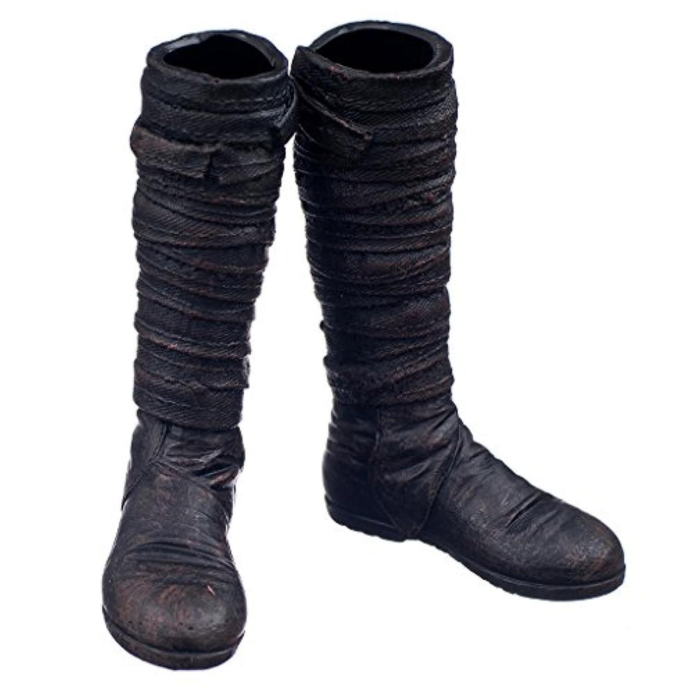 【ノーブランド品】1/6 プラスチック製 男性 人形のアクセサリー ロングブーツ 靴玩具 7.4cm  贈り物