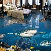 山笑の美 フロアステッカー 壁画 壁紙 フレスコ画 水中世界のホラーハークペーパーリビングルームキッズルーム-280X200cm