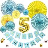 5歳バースデー デコレーションバルーンセット ブルー誕生日 豪華 飾り付け 数字風船 ペーパーファン ガーランド お祝い パーティー