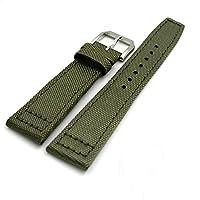 [Richie strap] 腕時計ベルト 腕時計バンド 替えストラップ 社外品 汎用レザーベルト / テキスタイルベルト 取付幅20/21/22mm 適用: IWC インターナショナル・ウォッチ・カンパニー (尾錠)ピンバックル付き (ライトグリーン20mm)