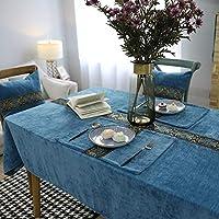 LULIJP テーブルマット テーブルクロス テーブルカバー 耐久 装飾 拭きやすい 多用途 家庭用 汚れ防止 (Color : Blue2, Size : 130*130)