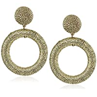 Panacea Women's Gold Metallic Thread Circle Earrings, One Size