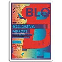 2×10センチメートルボローニャ空港ビニールステッカー - イタリアステッカーノートパソコンの荷物の#17183(10センチメートルトール)