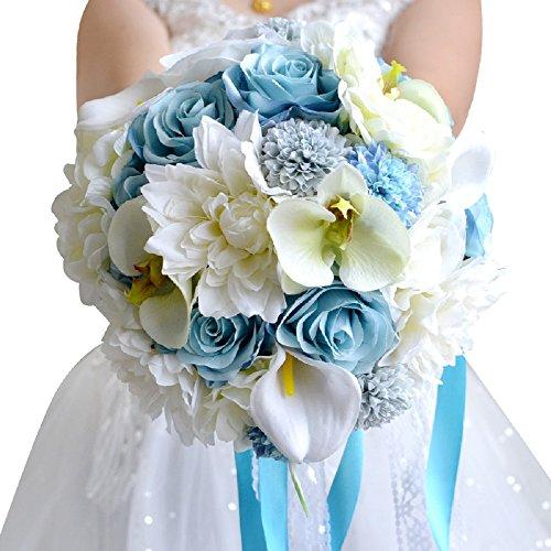 ブルーとホワイト 花束 ウェディングブーケ ラウンドブーケ 花嫁ブーケ ブライダルブーケ 造花 誕生日 プレゼント 結婚式 二次会 撮影