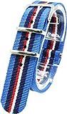 ( ブルー/ネイビー/レッド/ホワイト 20mm ) NATOタイプ 時計ベルト 腕時計ベルト ナイロン 2PiS 交換マニュアル付