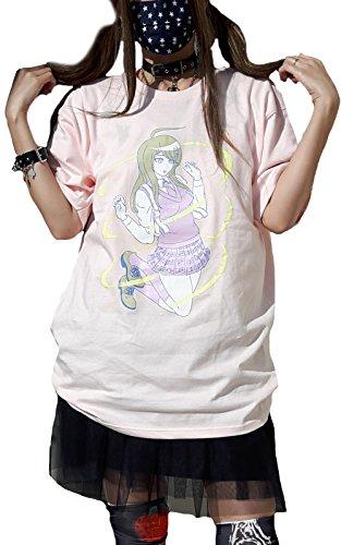 ダンガンロンパ リッスンフレーバー Tシャツ レディース ビッグ 大きい 原宿 青文字 赤松楓 アニメ DRLH-00129 (ピンク)