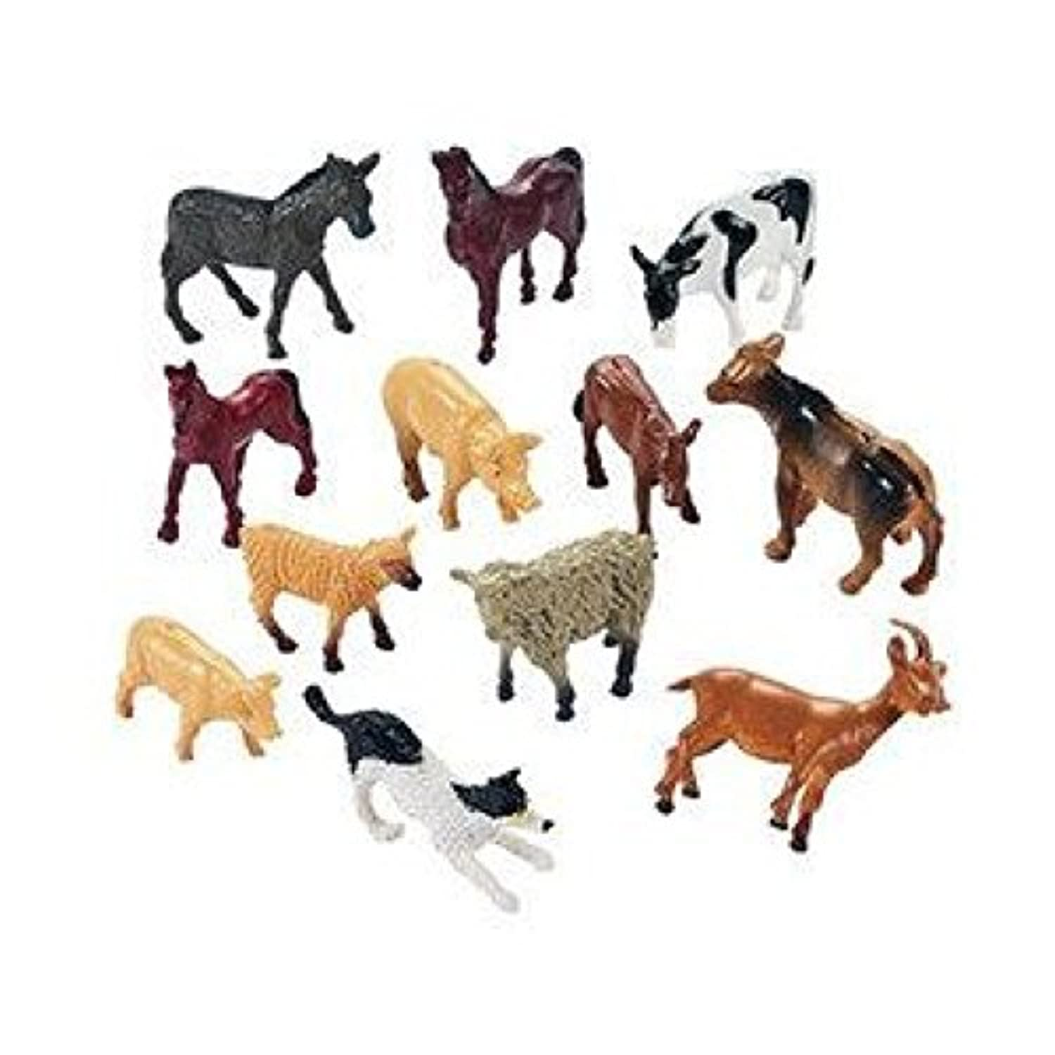 12 Farm Animal Miniature Toy Figures