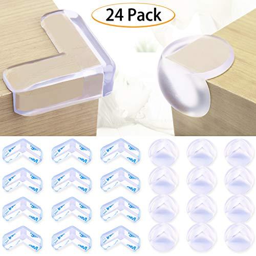 コーナークッション コーナー ガード透明 24個セット(L型12個、丸型12個) 赤ちゃん・子供・年配の方ケガ防止 保育園 安全対策 家具の角を保護 3M両面テープ貼り付き